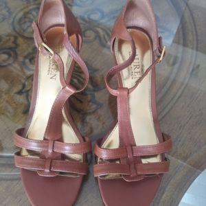 Ralph Lauren Shoes - Ralph Lauren cork wedge strappy heels Size 6.5